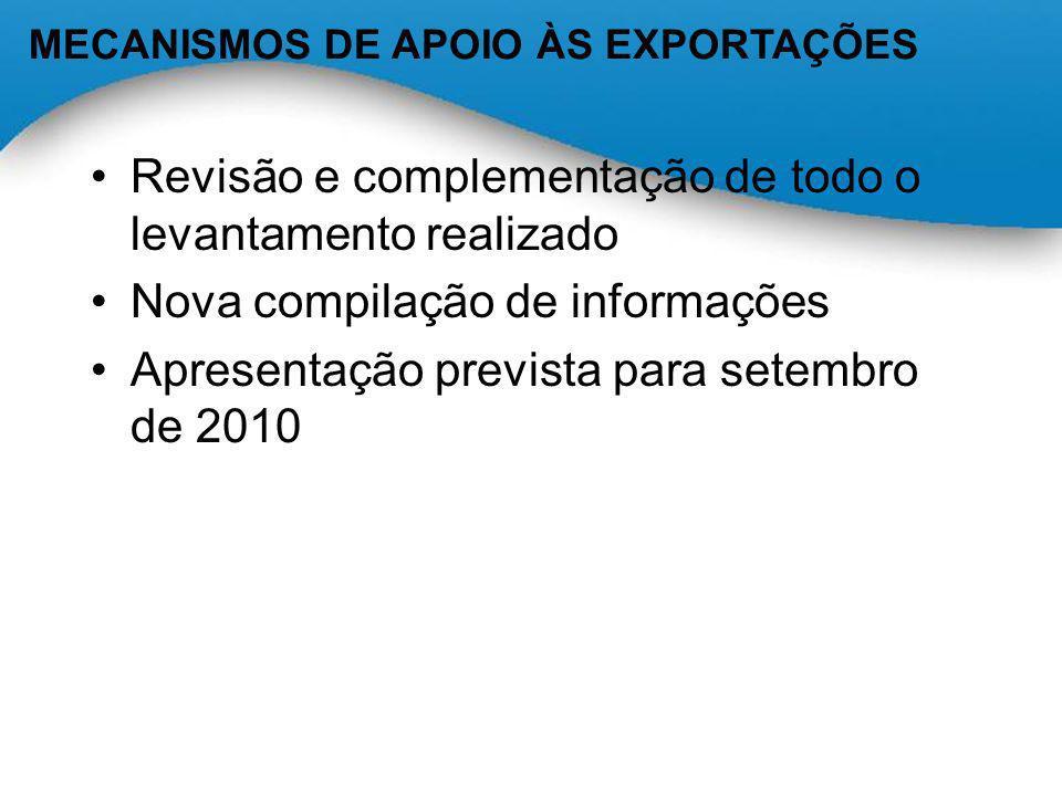 Revisão e complementação de todo o levantamento realizado Nova compilação de informações Apresentação prevista para setembro de 2010 MECANISMOS DE APO