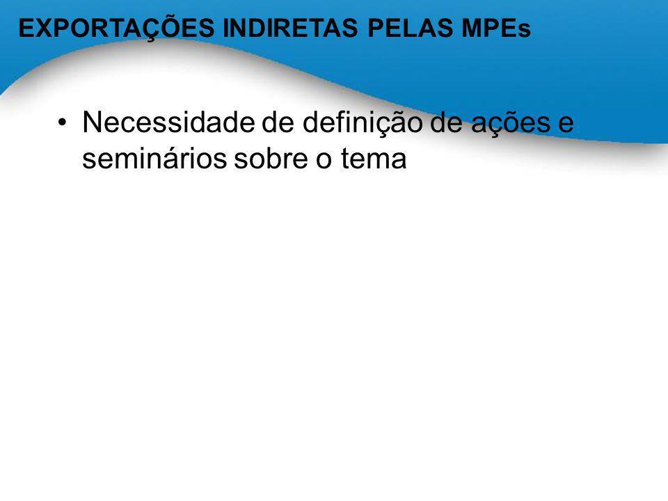 Necessidade de definição de ações e seminários sobre o tema EXPORTAÇÕES INDIRETAS PELAS MPEs