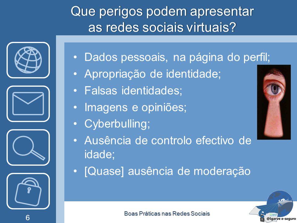 Que perigos podem apresentar as redes sociais virtuais? Dados pessoais, na página do perfil; Apropriação de identidade; Falsas identidades; Imagens e