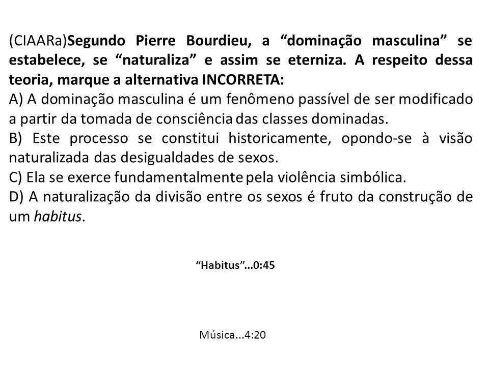 (CIAARa)Segundo Pierre Bourdieu, a dominação masculina se estabelece, se naturaliza e assim se eterniza. A respeito dessa teoria, marque a alternativa