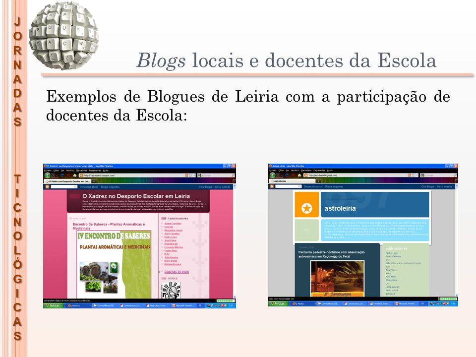 JORNADASTICNOLÓGICAS Blogs locais e docentes da Escola Exemplos de Blogues de Leiria com a participação de docentes da Escola: