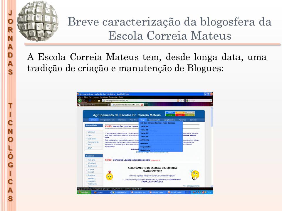 JORNADASTICNOLÓGICAS Breve caracterização da blogosfera da Escola Correia Mateus A Escola Correia Mateus tem, desde longa data, uma tradição de criaçã