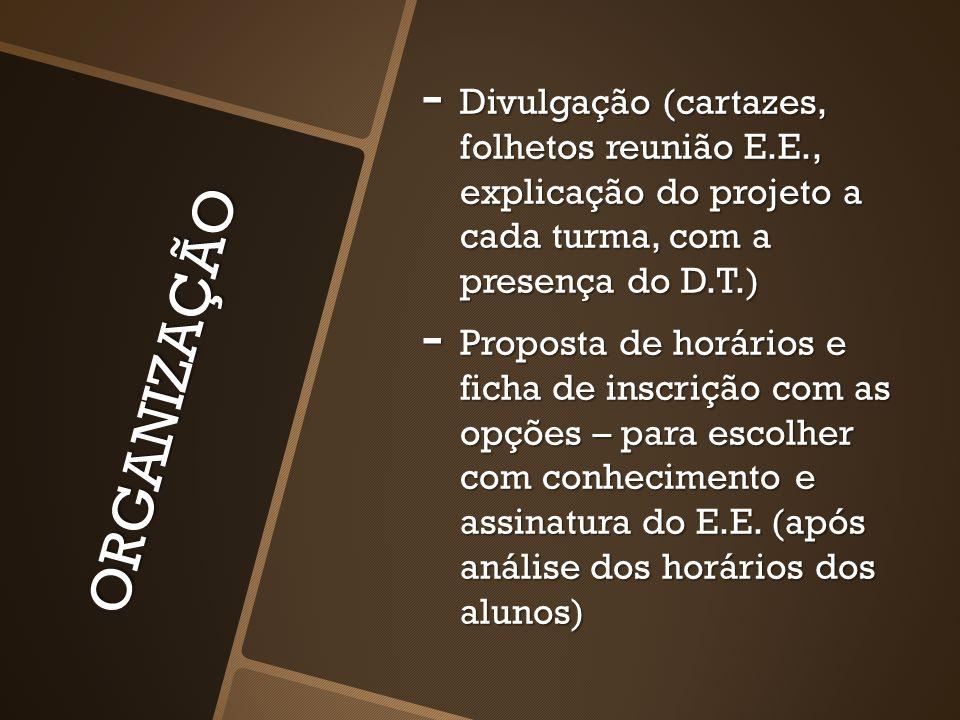 ORGANIZAÇÃO - Divulgação (cartazes, folhetos reunião E.E., explicação do projeto a cada turma, com a presença do D.T.) - Proposta de horários e ficha