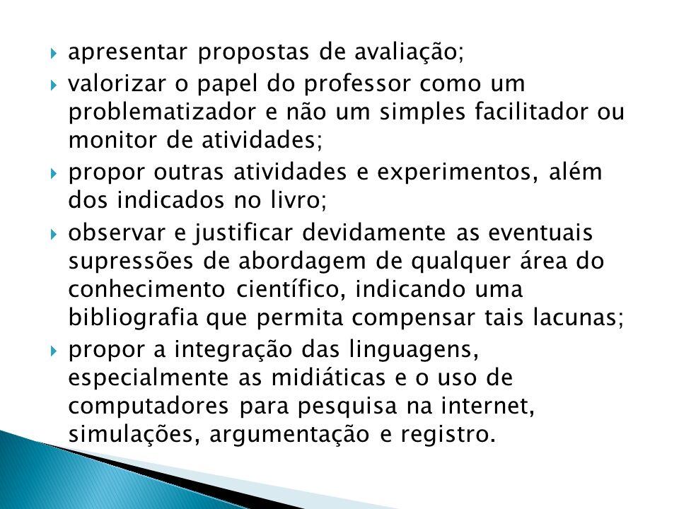 apresentar propostas de avaliação; valorizar o papel do professor como um problematizador e não um simples facilitador ou monitor de atividades; propo