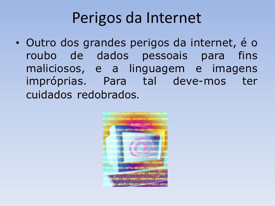 Perigos da Internet Outro dos grandes perigos da internet, é o roubo de dados pessoais para fins maliciosos, e a linguagem e imagens impróprias. Para