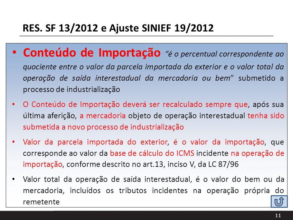 11 Conteúdo de Importação é o percentual correspondente ao quociente entre o valor da parcela importada do exterior e o valor total da operação de saí