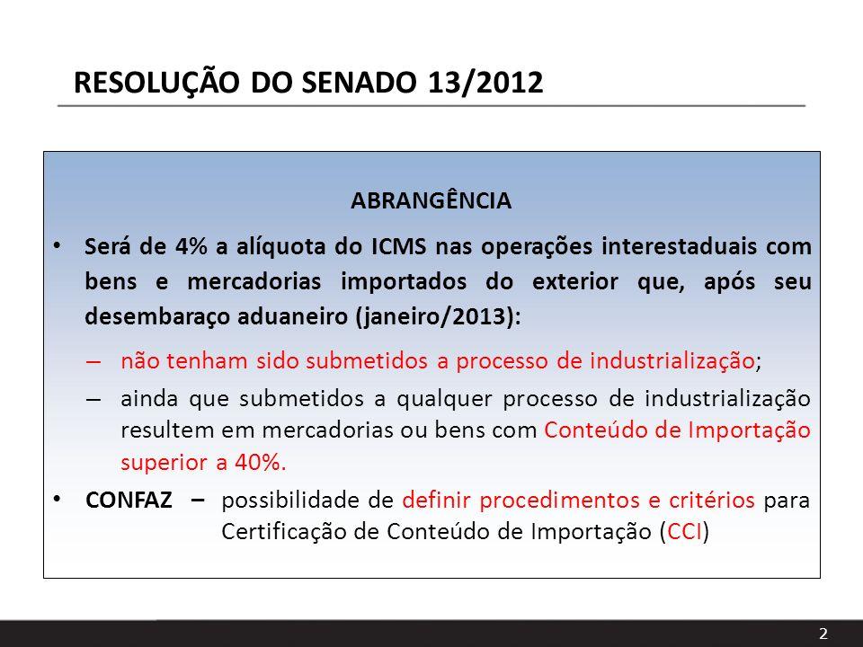 2 RESOLUÇÃO DO SENADO 13/2012 ABRANGÊNCIA Será de 4% a alíquota do ICMS nas operações interestaduais com bens e mercadorias importados do exterior que