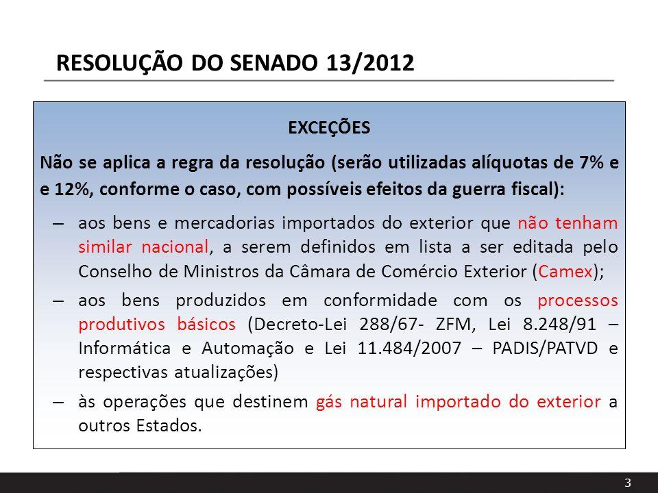 3 EXCEÇÕES Não se aplica a regra da resolução (serão utilizadas alíquotas de 7% e e 12%, conforme o caso, com possíveis efeitos da guerra fiscal): – a