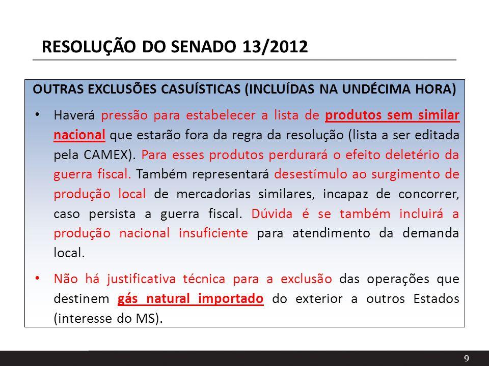 9 OUTRAS EXCLUSÕES CASUÍSTICAS (INCLUÍDAS NA UNDÉCIMA HORA) Haverá pressão para estabelecer a lista de produtos sem similar nacional que estarão fora