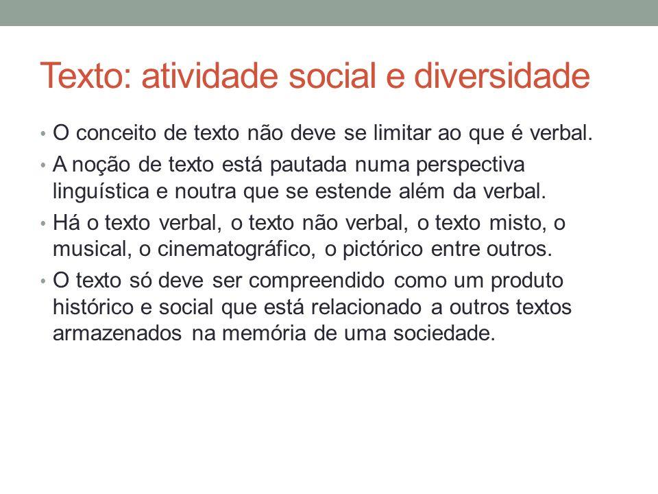 Texto: atividade social e diversidade Elementos para a composição textual: interlocutores (locutor e alocutário), o referente, a forma de dizer, o contexto.