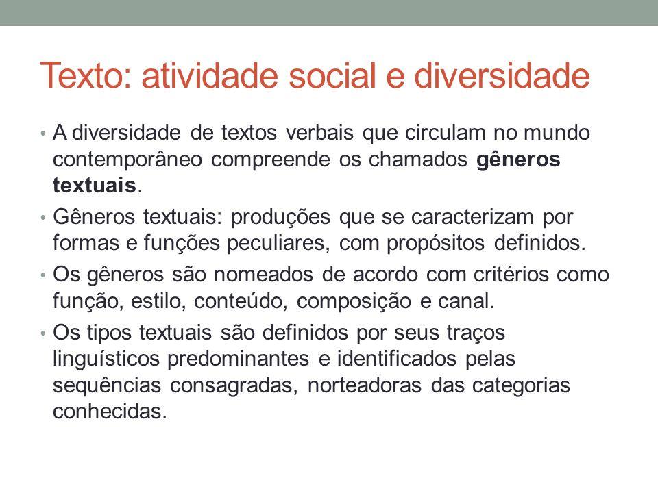 Texto: atividade social e diversidade A diversidade de textos verbais que circulam no mundo contemporâneo compreende os chamados gêneros textuais. Gên