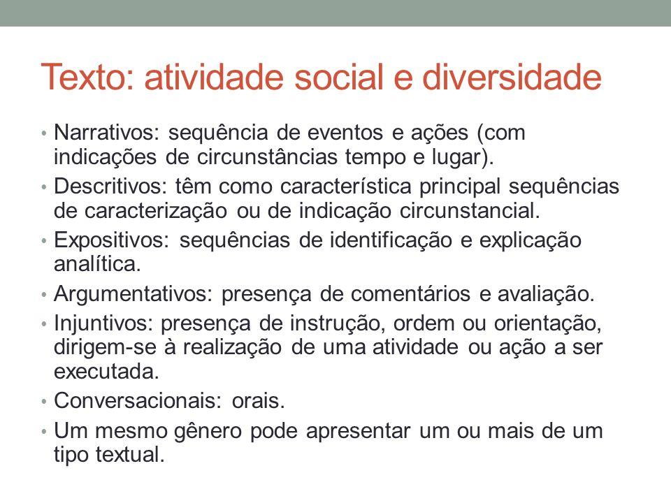 Texto: atividade social e diversidade Narrativos: sequência de eventos e ações (com indicações de circunstâncias tempo e lugar). Descritivos: têm como