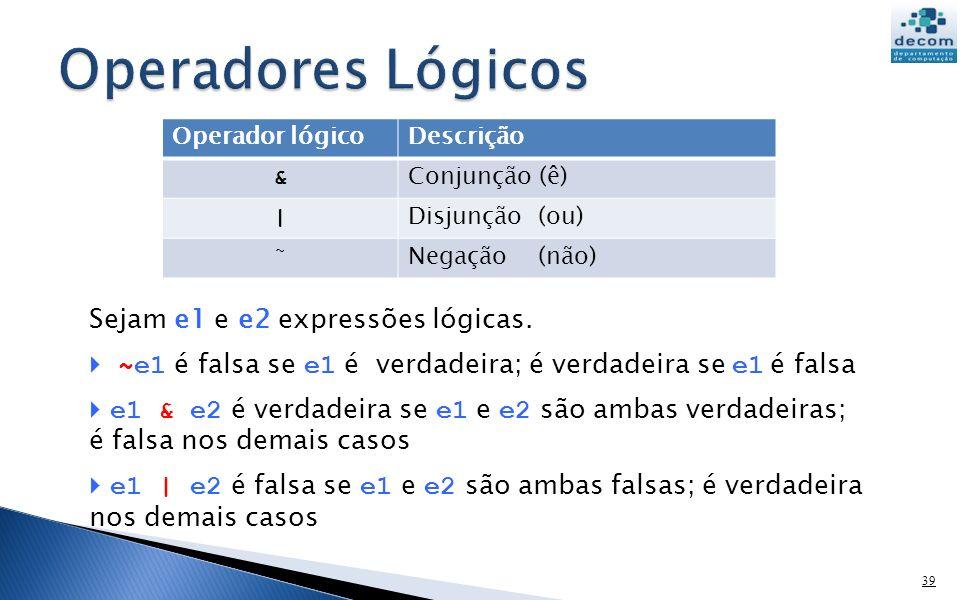 Operador lógicoDescrição & Conjunção (ê) | Disjunção (ou) ˜ Negação (não) 39 Sejam e1 e e2 expressões lógicas.