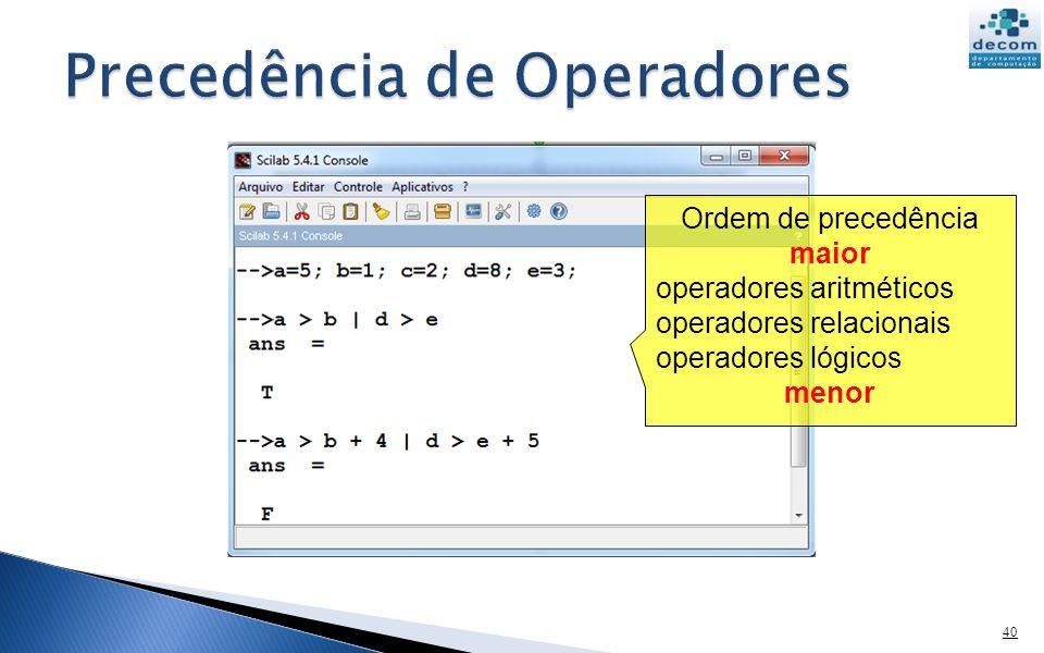 40 Ordem de precedência maior operadores aritméticos operadores relacionais operadores lógicos menor