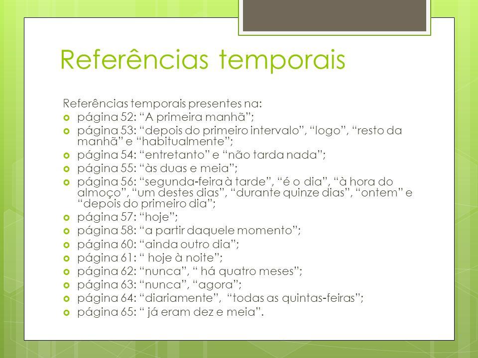 Referências temporais Referências temporais presentes na: página 52: A primeira manhã; página 53: depois do primeiro intervalo, logo, resto da manhã e