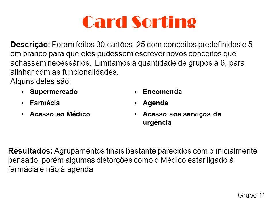 Card Sorting Grupo 11 Descrição: Foram feitos 30 cartões, 25 com conceitos predefinidos e 5 em branco para que eles pudessem escrever novos conceitos que achassem necessários.