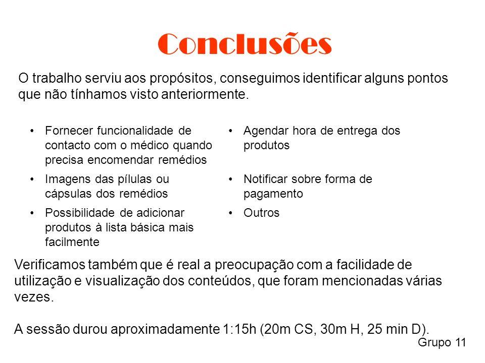 Conclusões Grupo 11 O trabalho serviu aos propósitos, conseguimos identificar alguns pontos que não tínhamos visto anteriormente.
