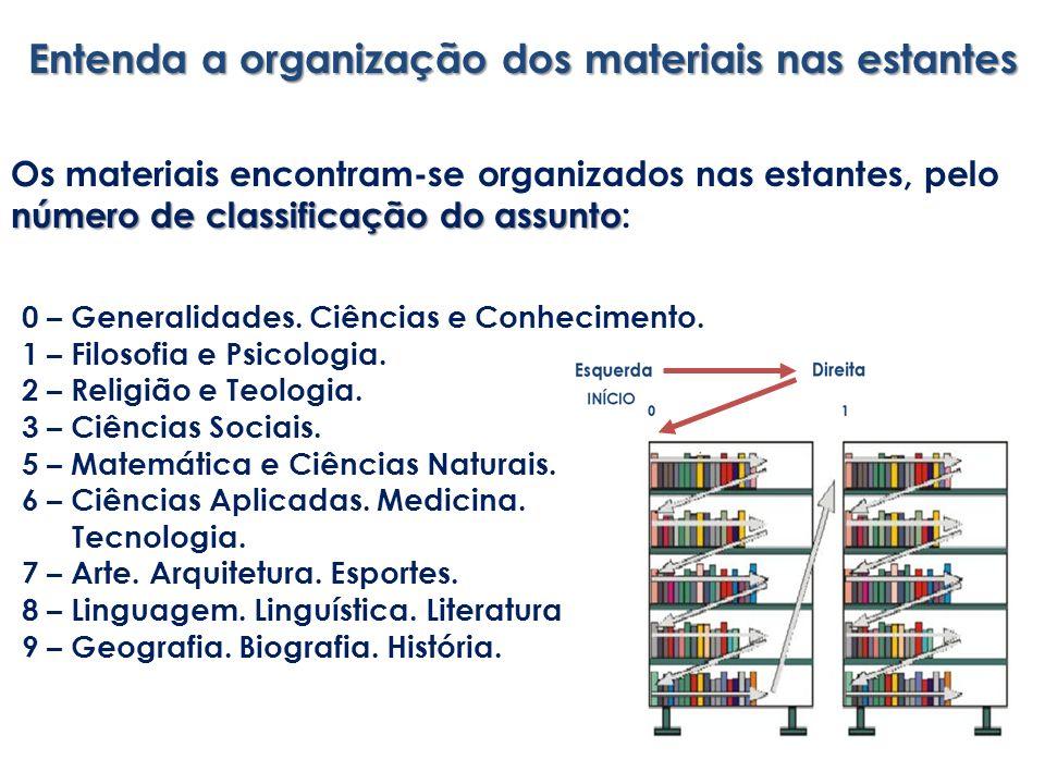 Entenda a organização dos materiais nas estantes número declassificação do assunto Os materiais encontram-se organizados nas estantes, pelo número de