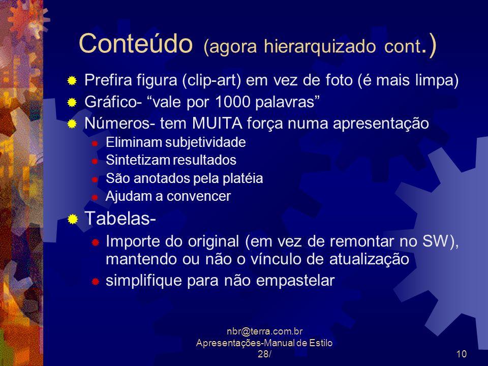 nbr@terra.com.br Apresentações-Manual de Estilo 28/10 Conteúdo (agora hierarquizado cont.) Prefira figura (clip-art) em vez de foto (é mais limpa) Grá