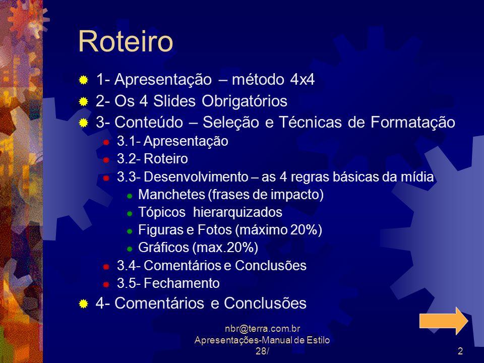nbr@terra.com.br Apresentações-Manual de Estilo 28/2 Roteiro 1- Apresentação – método 4x4 2- Os 4 Slides Obrigatórios 3- Conteúdo – Seleção e Técnicas