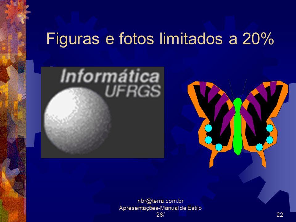 nbr@terra.com.br Apresentações-Manual de Estilo 28/22 Figuras e fotos limitados a 20%