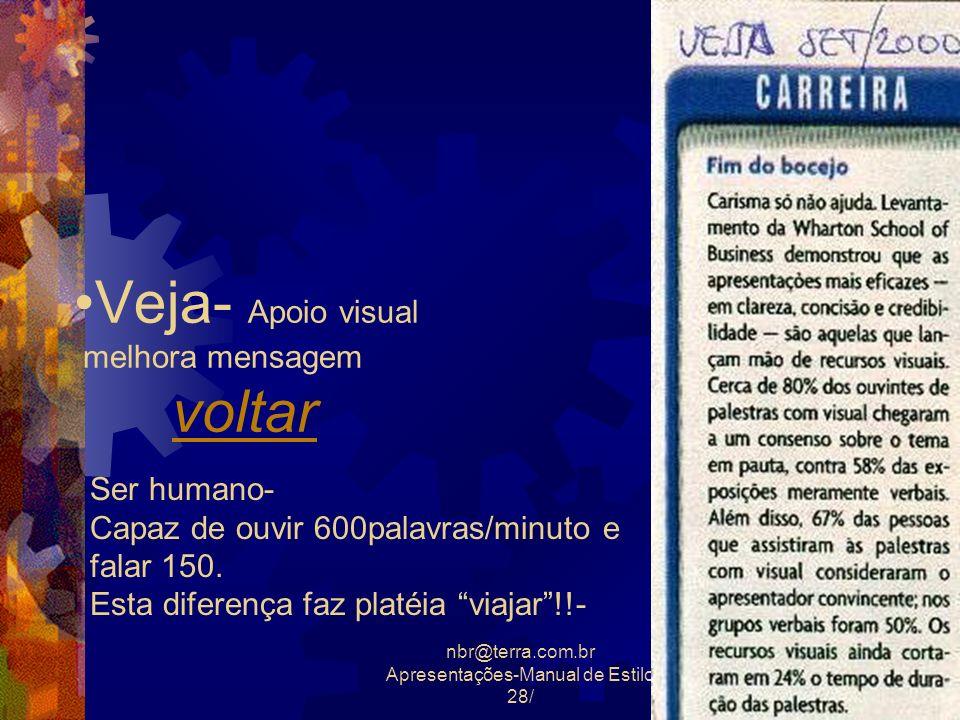 nbr@terra.com.br Apresentações-Manual de Estilo 28/29 Veja- Apoio visual melhora mensagem voltarvoltar Ser humano- Capaz de ouvir 600palavras/minuto e