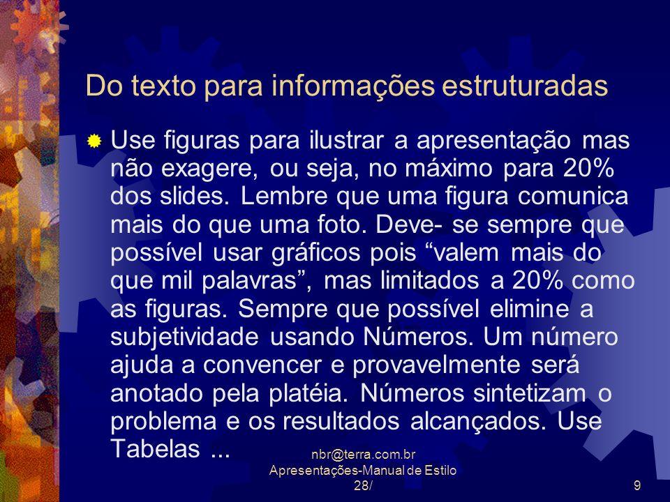 nbr@terra.com.br Apresentações-Manual de Estilo 28/9 Do texto para informações estruturadas Use figuras para ilustrar a apresentação mas não exagere,