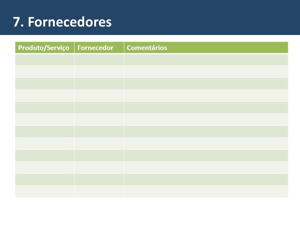 7. Fornecedores Produto/ServiçoFornecedorComentários