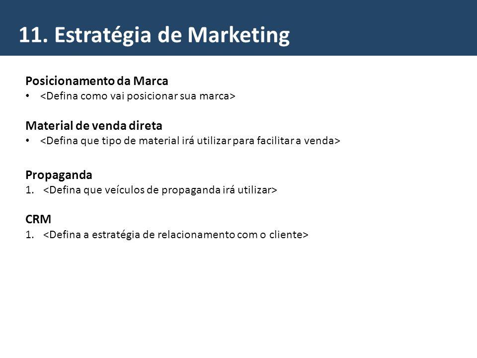 11. Estratégia de Marketing Posicionamento da Marca Material de venda direta Propaganda 1. CRM 1.