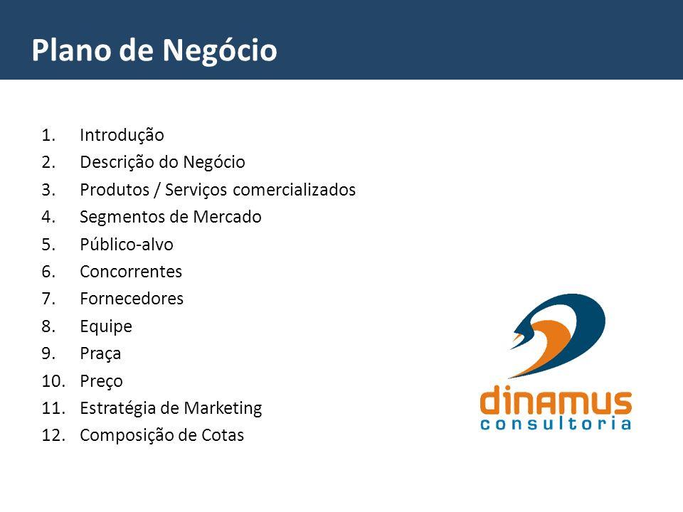 1.Introdução 2.Descrição do Negócio 3.Produtos / Serviços comercializados 4.Segmentos de Mercado 5.Público-alvo 6.Concorrentes 7.Fornecedores 8.Equipe