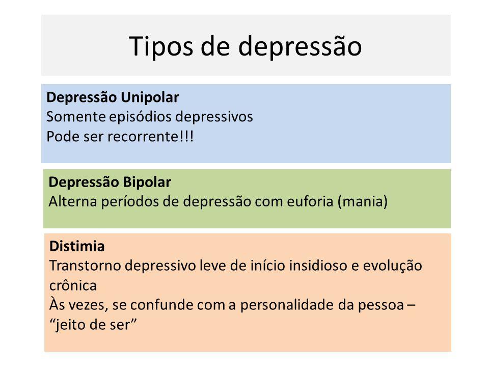 Tipos de depressão Distimia Transtorno depressivo leve de início insidioso e evolução crônica Às vezes, se confunde com a personalidade da pessoa – je
