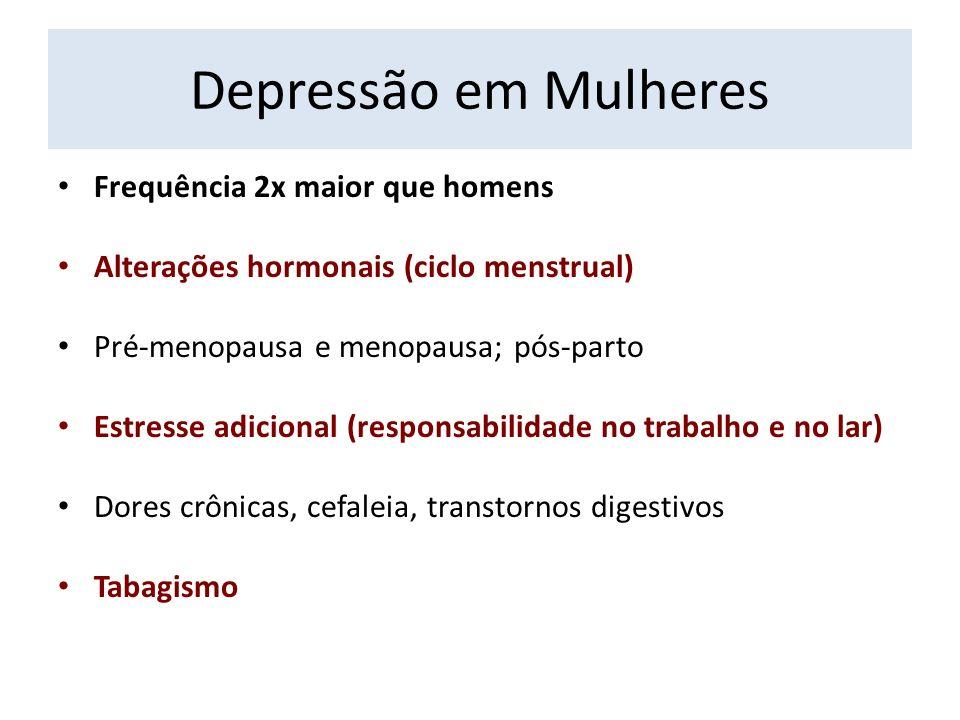 Depressão em Mulheres Frequência 2x maior que homens Alterações hormonais (ciclo menstrual) Pré-menopausa e menopausa; pós-parto Estresse adicional (r