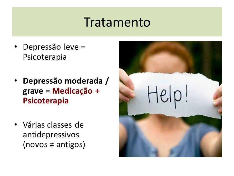Tratamento Depressão leve = Psicoterapia Depressão moderada / grave = Medicação + Psicoterapia Várias classes de antidepressivos (novos antigos)