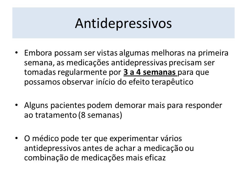 Antidepressivos Embora possam ser vistas algumas melhoras na primeira semana, as medicações antidepressivas precisam ser tomadas regularmente por 3 a