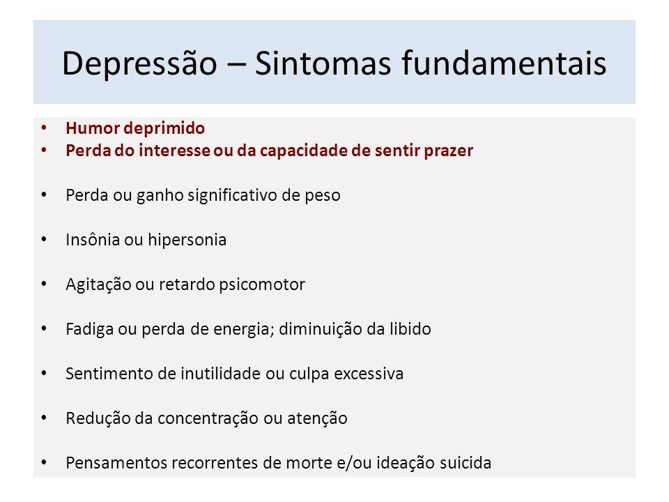 Depressão – Sintomas fundamentais Humor deprimido Perda do interesse ou da capacidade de sentir prazer Perda ou ganho significativo de peso Insônia ou