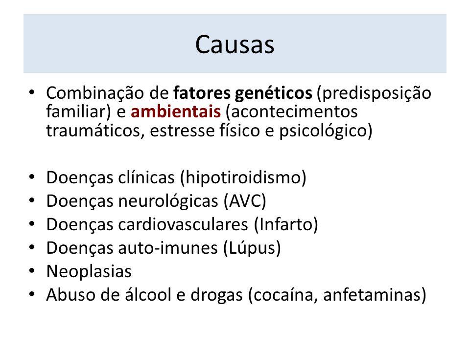 Causas Combinação de fatores genéticos (predisposição familiar) e ambientais (acontecimentos traumáticos, estresse físico e psicológico) Doenças clíni