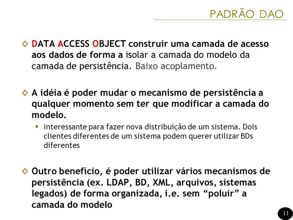 11 PADRÃO DAO DATA ACCESS OBJECT construir uma camada de acesso aos dados de forma a isolar a camada do modelo da camada de persistência. Baixo acopla