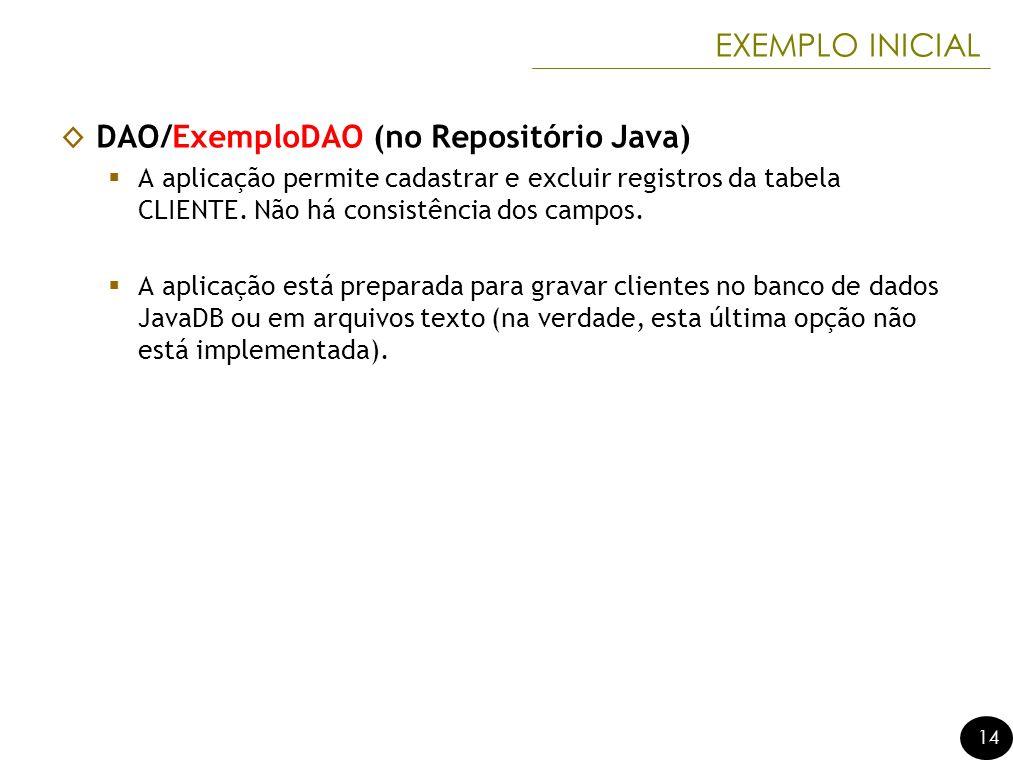 14 EXEMPLO INICIAL DAO/ExemploDAO (no Repositório Java) A aplicação permite cadastrar e excluir registros da tabela CLIENTE. Não há consistência dos c
