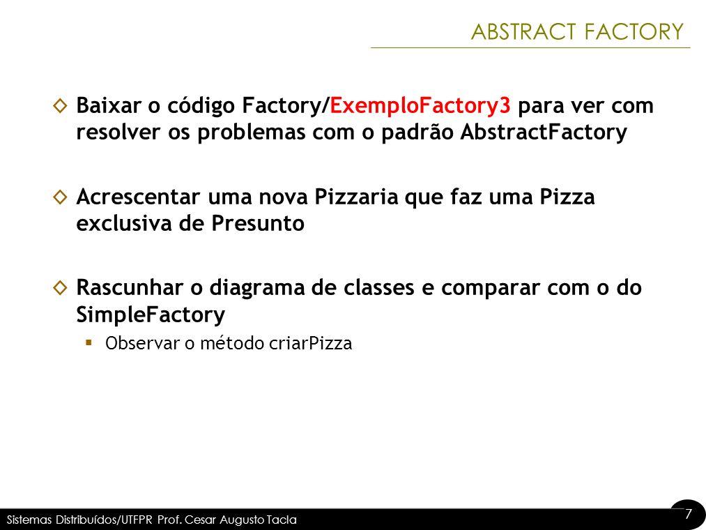 7 7 ABSTRACT FACTORY Baixar o código Factory/ExemploFactory3 para ver com resolver os problemas com o padrão AbstractFactory Acrescentar uma nova Pizz