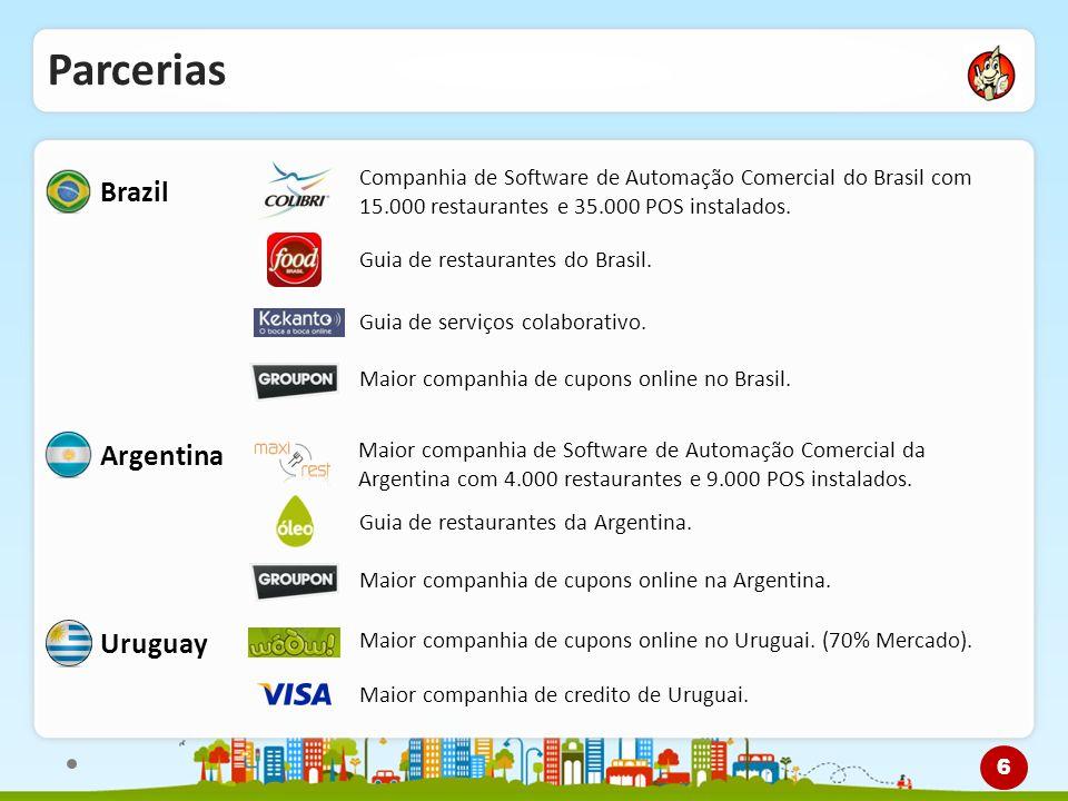Parcerias Brazil Companhia de Software de Automação Comercial do Brasil com 15.000 restaurantes e 35.000 POS instalados. Guia de restaurantes do Brasi