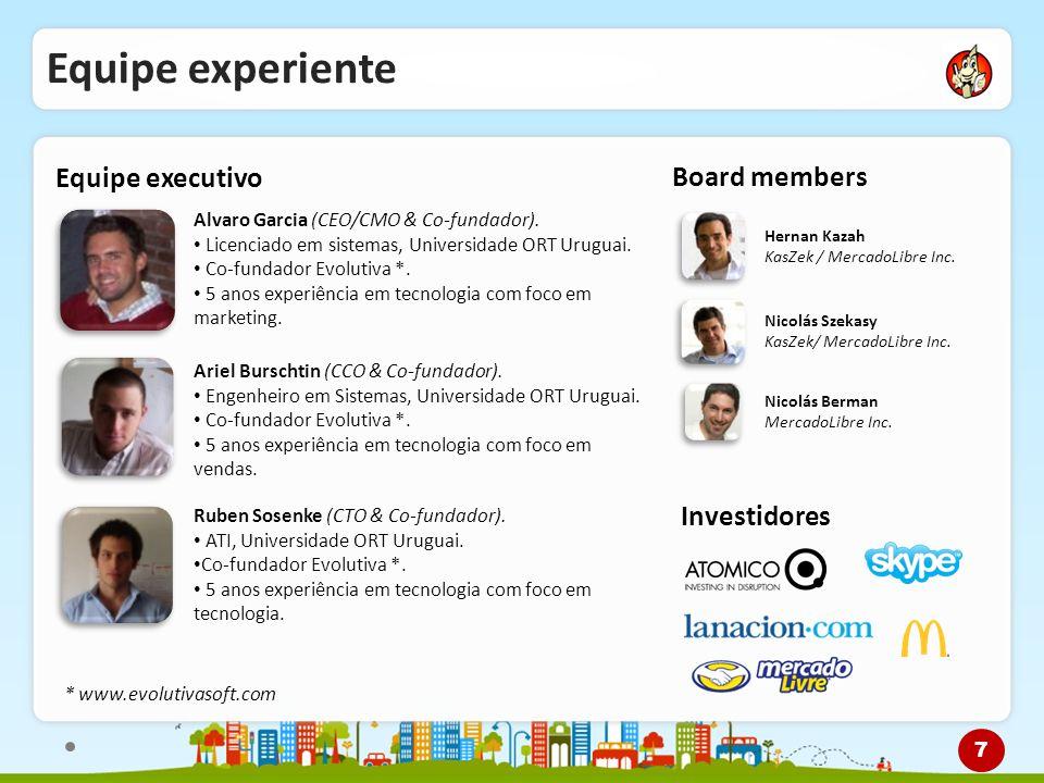 Equipe experiente Equipe executivo Alvaro Garcia (CEO/CMO & Co-fundador). Licenciado em sistemas, Universidade ORT Uruguai. Co-fundador Evolutiva *. 5