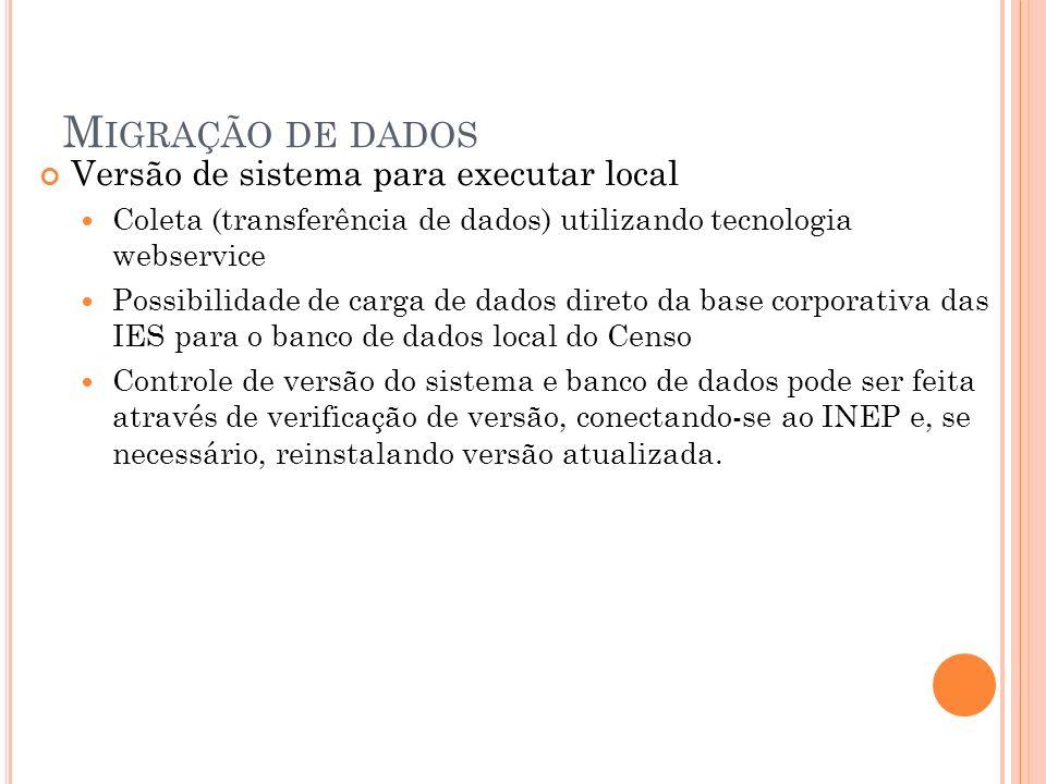 M IGRAÇÃO DE DADOS Versão de sistema para executar local Coleta (transferência de dados) utilizando tecnologia webservice Possibilidade de carga de da