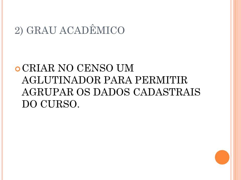 2) GRAU ACADÊMICO CRIAR NO CENSO UM AGLUTINADOR PARA PERMITIR AGRUPAR OS DADOS CADASTRAIS DO CURSO.