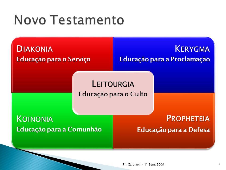 D IAKONIA Educação para o Serviço K ERYGMA Educação para a Proclamação K OINONIA Educação para a Comunhão P ROPHETEIA Educação para a Defesa L EITOURGIA Educação para o Culto Pr.