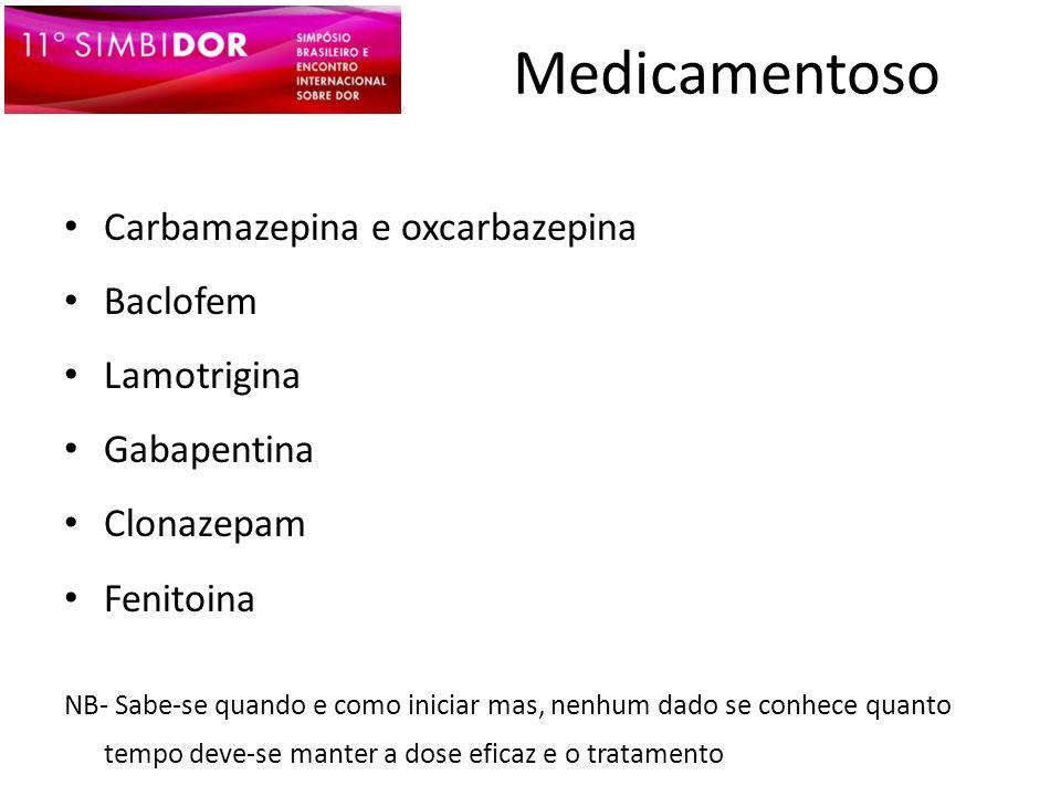Medicamentoso Carbamazepina e oxcarbazepina Baclofem Lamotrigina Gabapentina Clonazepam Fenitoina NB- Sabe-se quando e como iniciar mas, nenhum dado s