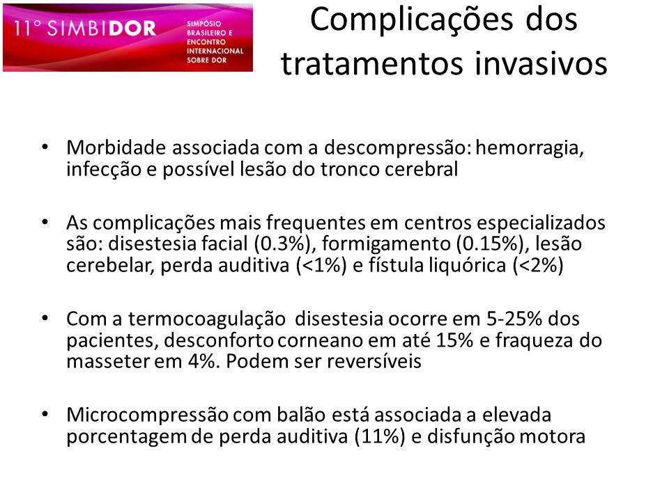 Complicações dos tratamentos invasivos Morbidade associada com a descompressão: hemorragia, infecção e possível lesão do tronco cerebral As complicaçõ