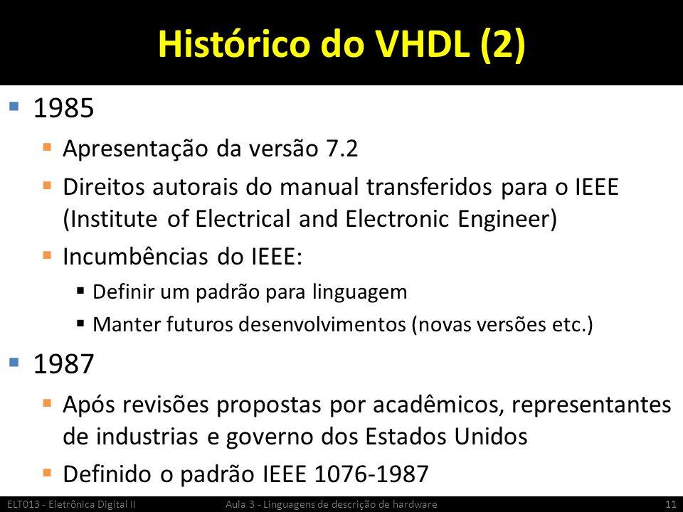 Histórico do VHDL (2) 1985 Apresentação da versão 7.2 Direitos autorais do manual transferidos para o IEEE (Institute of Electrical and Electronic Engineer) Incumbências do IEEE: Definir um padrão para linguagem Manter futuros desenvolvimentos (novas versões etc.) 1987 Após revisões propostas por acadêmicos, representantes de industrias e governo dos Estados Unidos Definido o padrão IEEE 1076-1987 ELT013 - Eletrônica Digital II Aula 3 - Linguagens de descrição de hardware11