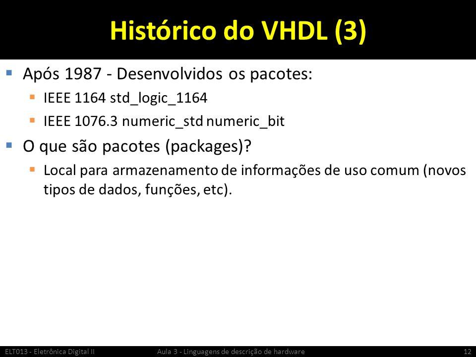 Histórico do VHDL (3) Após 1987 - Desenvolvidos os pacotes: IEEE 1164 std_logic_1164 IEEE 1076.3 numeric_std numeric_bit O que são pacotes (packages).