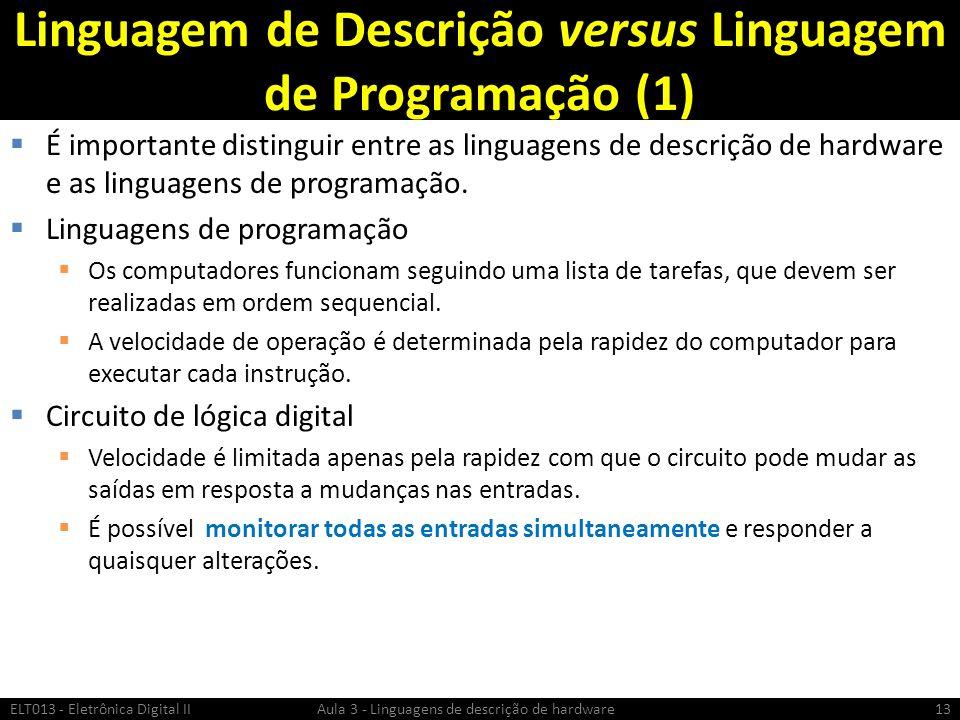 Linguagem de Descrição versus Linguagem de Programação (1) É importante distinguir entre as linguagens de descrição de hardware e as linguagens de programação.