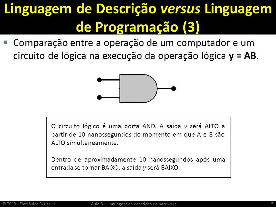 Linguagem de Descrição versus Linguagem de Programação (3) Comparação entre a operação de um computador e um circuito de lógica na execução da operação lógica y = AB.